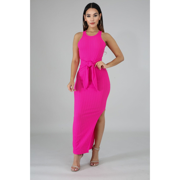 Dresses & Skirts - Pink Ribbed Knit Bodycon Side Slit Midi Dress